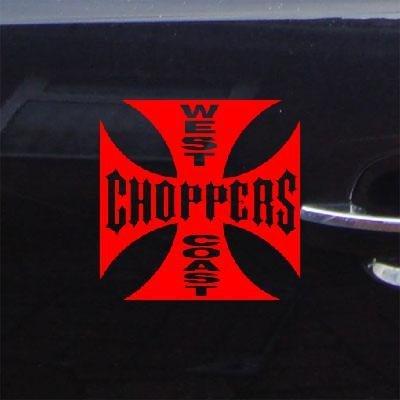 DIE CUT ART VINYL HOME DECOR WALL NOTEBOOK ADHESIVE VINYL RED BIKE DECORATION WEST COAST CHOPPERS WIDE GIANT CAR LAPTOP DECOR DECAL STICKER AUTO CAR (Decal Chopper)