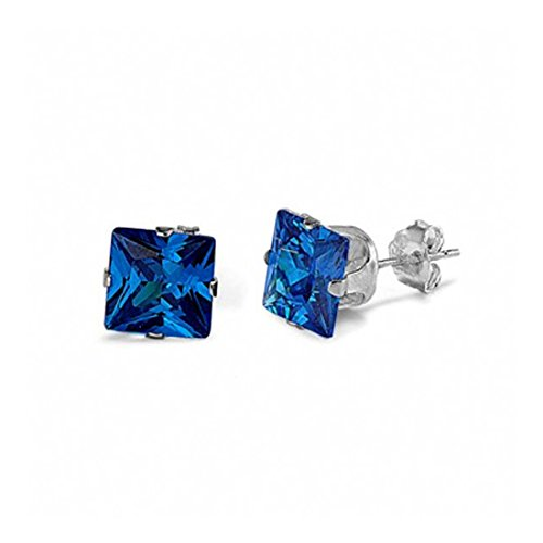 Solitaire Stud Post Earrings Princess Cut Simulated Blue Sapphire 925 Sterling Silver ()