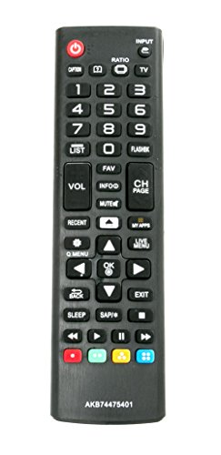 New AKB74475401 Replaced Remote fit for LG Smart TV 24LF4820 43UF6430 43UF6800 43UF7600 49LF5900 49UF6400 49UF6430 49UF6490 49UF6800 49UF6900 49UF7590 43UF6900 43UF7590 32LF595B 43LF5900 43UF6400 49UF7600 49UF7600-UJ 49UF7700 49UF7700UB 49UF7700-UB 50LF6500 50LF6500UB 50LF6500-UB 50UF8300