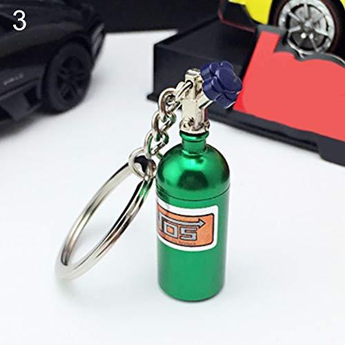 Noa54fran NOS Air Cylinder Shape, Key Decoration, Bag Pendant Mini NOS Bottle Oxide Nitrous Pill Stash Box Auto Car Key Chain Keyring Keyfob - Green