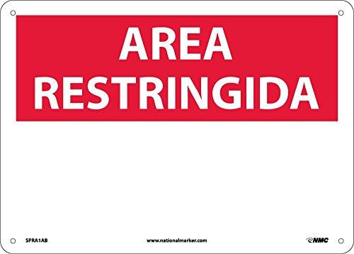 National Marker Corp. SPRA1AB Area Restringida, Blank, Sign, 10 Inch X 14 Inch, 0.040 Alum by National Marker