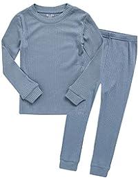 12M-7T Baby Kids Girls Boys Unisex Soft Comfy Modal Tencel Shirring Sleepwear Pajamas 2pcs Set