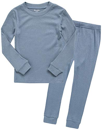 Boys Long Sleeve Modal Sleepwear Pajamas 2pcs Set Rib Knit Blue -