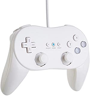 SQDeal Classic Pro Controller Console Gamepad Joystick Suitable for Nintendo Wii Game Remote (White)