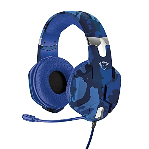 Trust Gaming Cascos PS4 & PS5 GXT 322B Auriculares Gamer con Micrófono Flexible y Diadema Ajustable, Cable de 1 m, para Playstation 4 & 5 - Azul