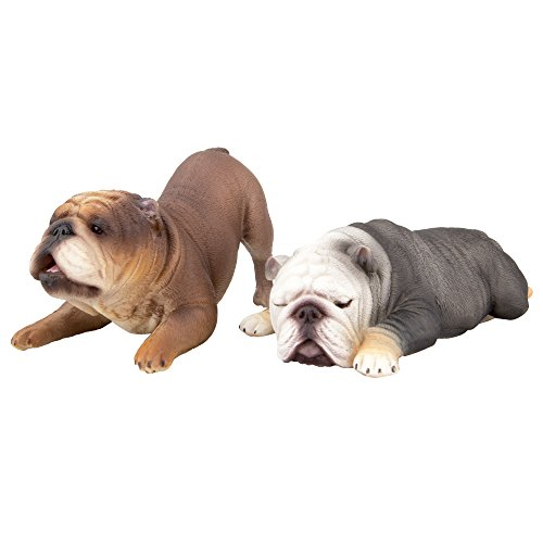 Toymany Realistic Large Bull Dog Figurines, Cute Sleeping Animal Figures Dog Figurines Set, Birthday Toy Gift for Kids Toddlers Children (2pcs)