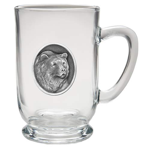 (1pc, Pewter Grizzly Bear Coffee Mug, Clear)