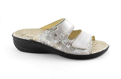 Grünland DARA CE0513 FANTASI sandalias de plata señora inconvenientes footbed extraíble Beige