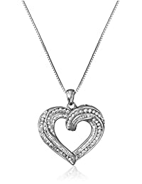 Sterling Silver and Diamond Heart Pendant Necklace (1 cttw), 18""