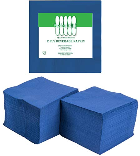 Perfectware 2 Ply Navy Blue-200 Navy Blue Beverage Napkin Package of 200ct- 2-Ply, 2.5