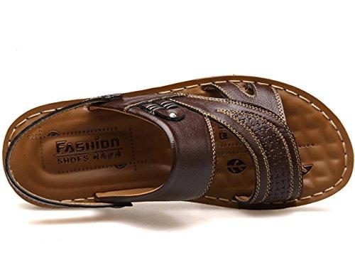 Sandali primavera-estate YCMDM Uomo Autunno Comfort pelle bovina esterna piedi sandali Ufficio carriera casuale scarpe a monte , brown , 40