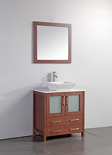 "Legion Furniture WA7830C 30"" Artificial Stone Top Vessel Sink Bathroom Vanity with Matching Framed Mirror and, Cherry Finish"