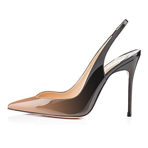Avec Talon Grande Escarpins noir Haute Beige Stilettos Femme Aiguille 12cm Femmes Talons Taille Chaussures Ubeauty H4gU4