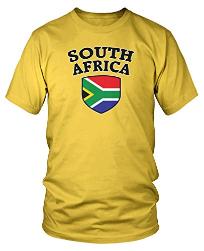 Africa Tee (Amdesco Men's South African Flag Shield, South Africa Flag T-shirt, Yellow Large)