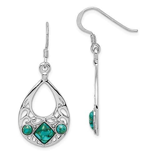 925 Sterling Silver Reconstituted Blue Turquoise Shepherd Hook Drop Dangle Chandelier Earrings Fine Jewelry Gifts For Women For Her
