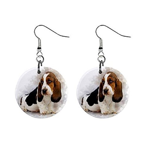 (Basset Hound Dog Pet Lover Jewelry Button Earrings 16454909)