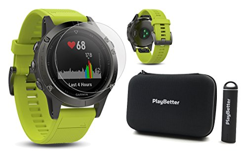 - Garmin Fenix 5 (Slate Gray with Amp Yellow Band) Power Bundle | Includes HD Glass Screen Protector, PlayBetter Protective Hard Case & PlayBetter Portable Charger | Multi-Sport GPS Watch