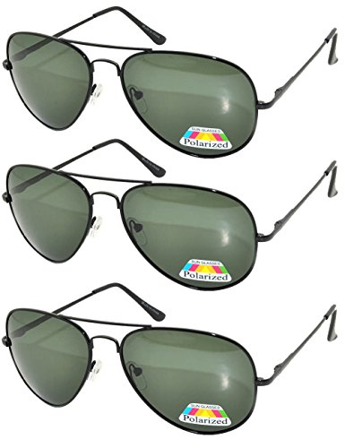 Set of 3 pairs Polarized Aviator Sunglasses Black Metal Frame Green Lens Spring - 3 Pair Sunglasses