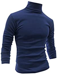 Allegra K Men Slim Fit Lightweight Long Sleeve Pullover Top Turtleneck T-shirt