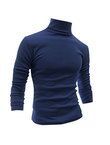 uxcell Men Slim Turtle Neck Design Soft Shirt Dark Blue S (US 36) ()