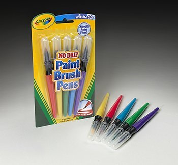 Crayola LLC : Paint Brush Pens, Washable, Nontoxic, 5/PK, Assorted -:- Sold as 2 Packs of - 5 - / - Total of 10 Each