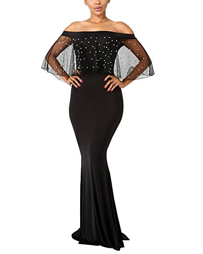 Aro Lora Women's Elegant Off Shoulder Mesh Pearls Beaded Prom Evening Wedding Bodycon Maxi Dress X-Large Black (Prom Mesh Beaded Dress)