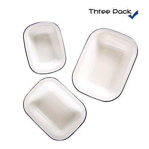 Webake Enamelware Roasting Pan 3 Pack Enamel Baking Pans Set - Solid White with Blue Rim -