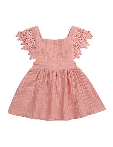 (Infant Baby Girls Dress Ruffle Sleeveless Summer Princess One-Piece Skirt Sundress Set(18-24 Months))