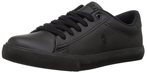 Polo Ralph Lauren Kids Unisex Easton Sneaker, Triple Black Tumbled, 1 Medium US Little Kid (Black School Shoes For Boys)