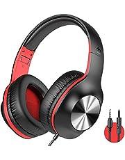 iClever HS18 over-ear-hörlurar med mikrofon - lätta stereohörlurar, justerbara hopfällbara trådbundna hörlurar med 3,5 mm uttag för onlineklass/möte/PC/telefon/dator (röd)