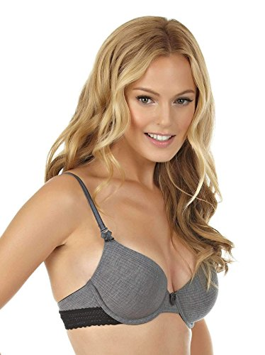 Felina Women's Aubrie Modal with lace Trim Full Coverage Bra, Gray Heather ()
