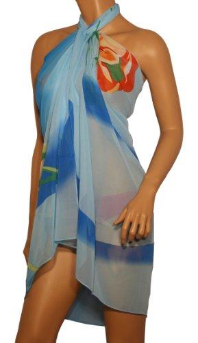 Blaues Strandkleid mit orangfarbenen Rosenblüten -se40353