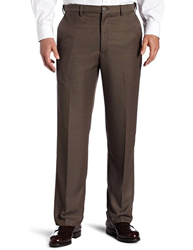 Sportoli Men's Cool Classic Fit Hidden Expandable Waist Plain Front Dress Pants - Heather Brown (Size 30W x (Brown Pinstripe Pants)