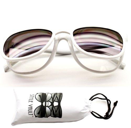 W111-vp Flip up Vintage Wayfarer Retro Mirrored Sunglasses (Cla White, - For Sunglasses L White Men