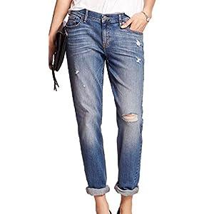Banana Republic Women's Low Rise Cuffed Destructed Girlfriend Jeans Light Wash 31/12