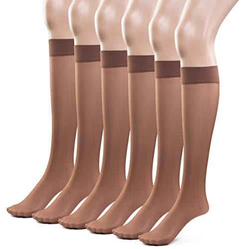 Silky Toes Women's Everyday Reinforced Sheer Knee Highs- 6 Pairs (Large, Coffee)