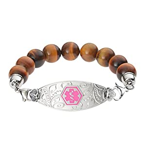 Divoti Deep Custom Laser Engraved Lovely Filigree Medical Alert Bracelet -Tiger Eye Bead-Pink
