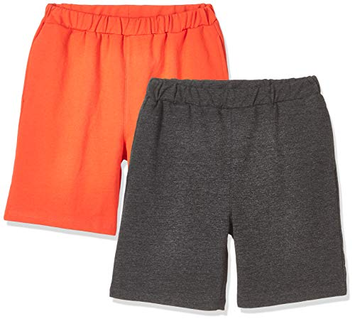 - Kid Nation Kid's Lightweight French Terry 2 Packs Solid French Terry Casual Shorts XL Hemp Black+Orange
