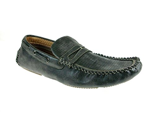 Mens 13005 Moccasin Slip On Penny Loafer Shoes Gray BSR9aqk