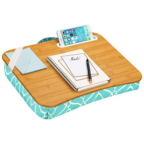 LapGear Designer Lap Desk with Phone Holder and Device Ledge - Aqua Trellis - Fits up to 15.6 Inch Laptops - Style No. 45422 (Sofa Online Bamboo)