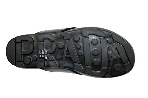 Prada Heren Nylon Met Spazzolato Leren String Sandalen, Antraciet / Zwart 4y2211