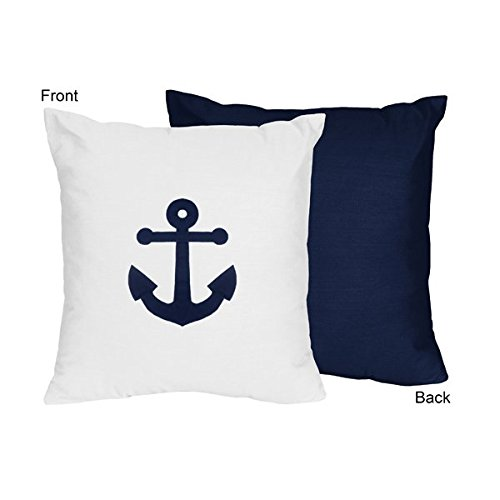 (Sweet Jojo Designs Anchors Away Nautical Navy and White Decorative Accent Throw)