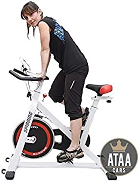 ATAA Bici Spinning con pantalla LCD, manillar y asiento ajustable semi profesional: Amazon.es: Belleza