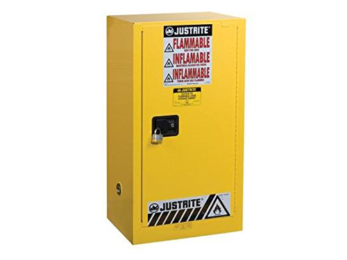 Compac Cabinet - Justrite 891520 Sure-Grip EX Galvanized Steel 1 Door Self-Close Flammable Compac Safety Storage Cabinet, 15 Gallon Capacity, 23-1/4