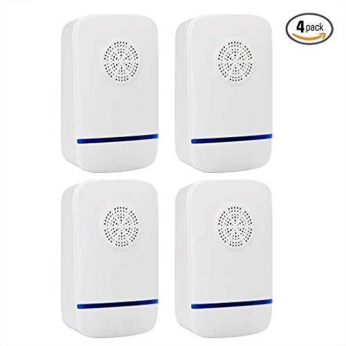 [2018 UPGRADED] Pest Control Home Pest Controller for Indoor Ultrasonic Pest Repeller for Insects,Mice,Spider,Ant,Roaches,Mosquito,Bugs,Flies,Fleas Indoor Use Ecofriendly 4 Pack