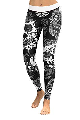 COCOLEGGINGS Women's Skeleton Print Elastic Waist Workout Leggings Black XL]()