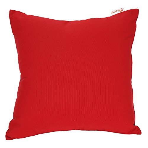 P&G MARKET Sunbrella Red Decorative Solid Color Square Knife Edge Indoor/Outdoor Pillow Case Cushion Cover Accent Throw Pillow Sham, 18 X 18 Inch (Sunbrella Sofa Indoor)