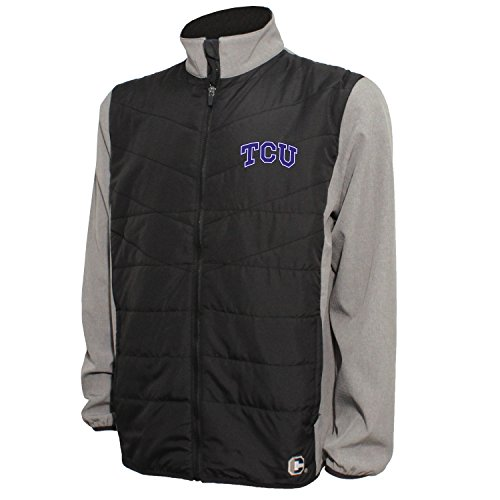 Frog Quilted (Crable NCAA TCU Horned Frogs Men's Quilted Front Panel Bonded Jacket, L, Black/Gray Heather)