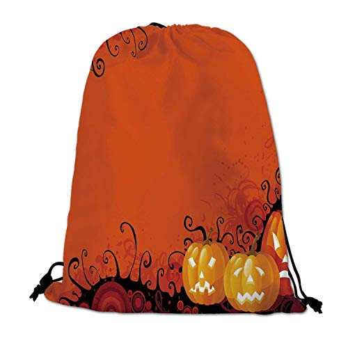 Spider Web Lightweight Drawstring Bag,Three Halloween Pumpkins Abstract Black Web Pattern Trick or Treat Decorative for Travel Shopping,One_Size