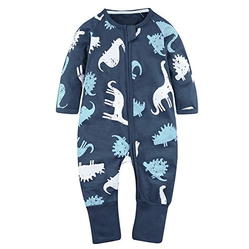 BOBORA Unisex Baby Romper, Baby Boys Girls Sleeper Flower Print Zipper Jumpsuit One Piece Outfits Pajamas ()